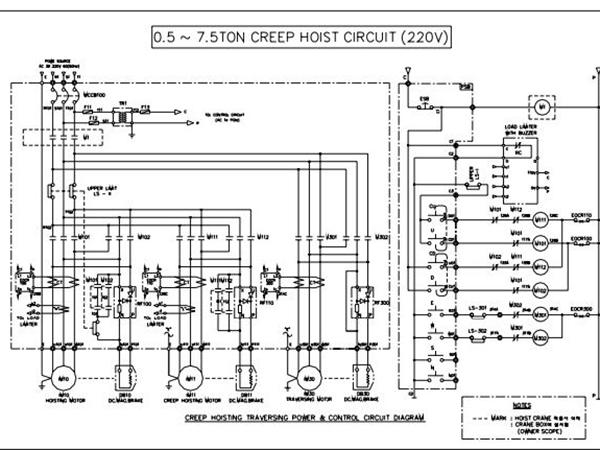 Sơ đồ mạch điện Palang 0.5 tấn đến 7 tấn 2 cấp tốc độ