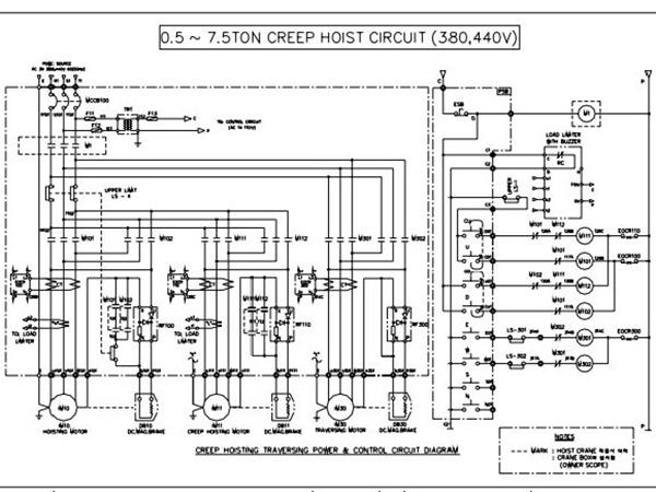 Sơ đồ bản vẽ điện Palang 0.5 tấn đến 7.5 tấn 2 cấp tốc độ sử dụng điện sử dụng nguồn điện 380v, 400v