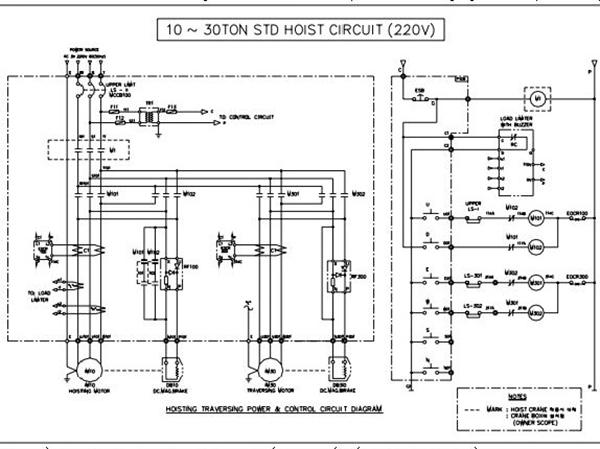 Sơ đồ bản vẽ điện Palang 10 tấn đến 30 tấn 1 cấp tốc độ sử dụng điện sử dụng nguồn điện 220v