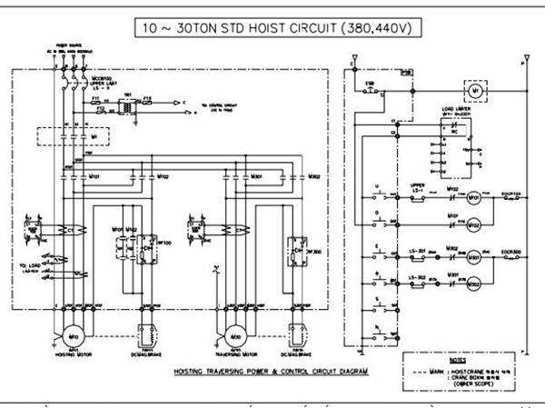 Sơ đồ bản vẽ điện Palang 10 tấn đến 30 tấn 1 cấp tốc độ sử dụng điện sử dụng nguồn điện 380v, 400v