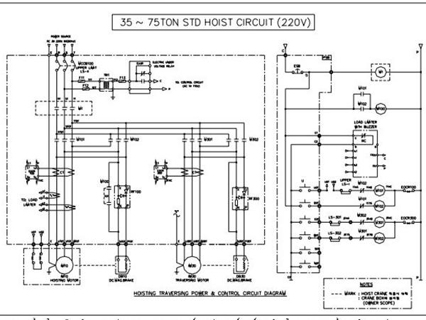Sơ đồ bản vẽ điện Palang 35 tấn đến 75 tấn 1 cấp tốc độ sử dụng điện sử dụng nguồn điện 220v